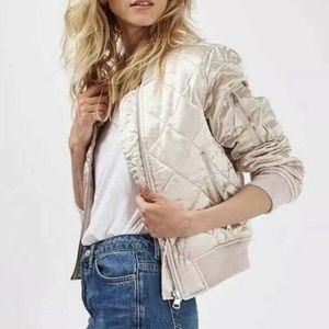 Topshop satin pink quilted bomer jacket